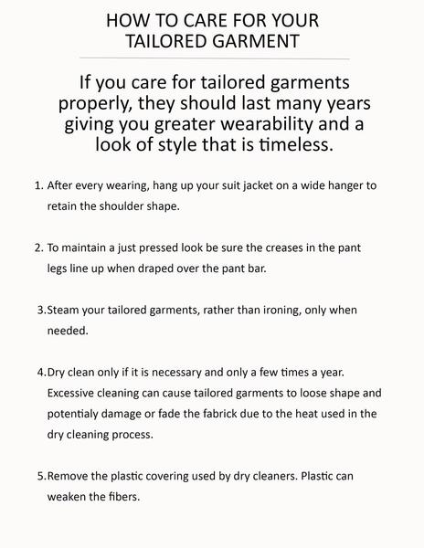 How to care for your tailored garment